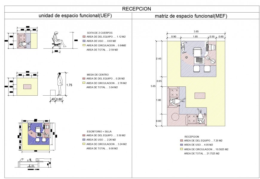 Reception top view plan detail dwg file