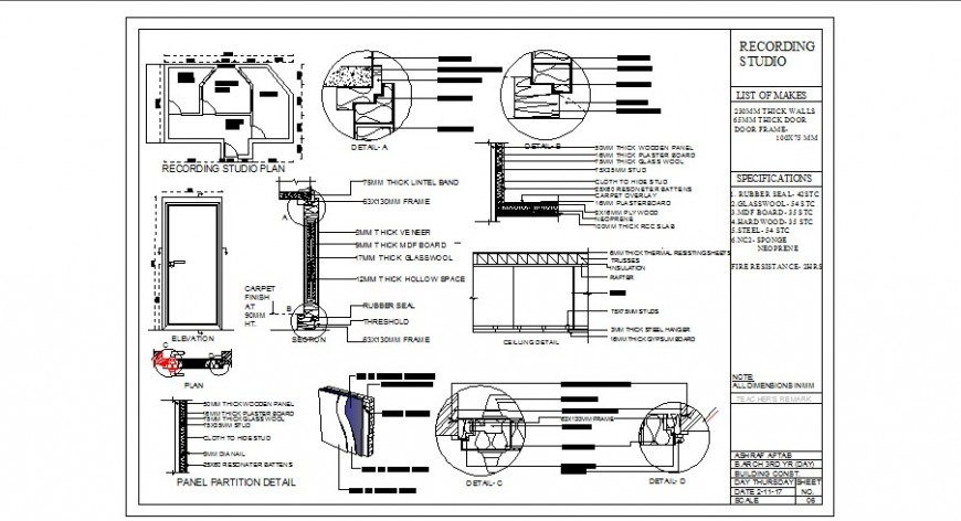 Recording studio store plan, door installation, ceiling and interior details dwg file