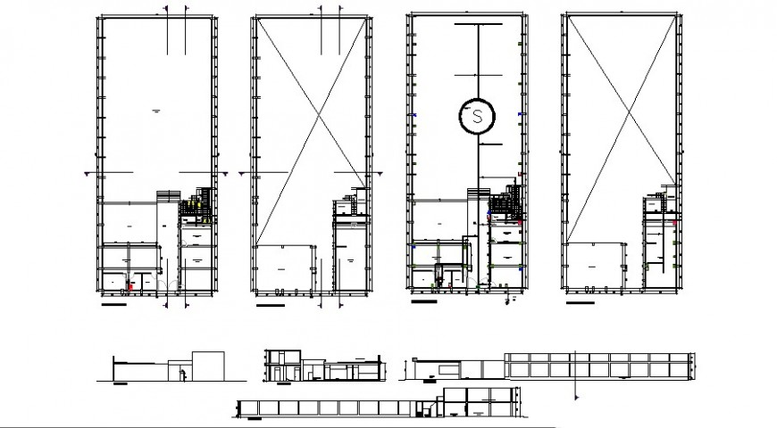 Recreation center elevation and section with safety and plan drawing details dwg file