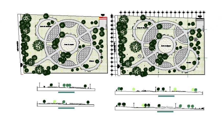 Recreation park gate elevation and landscaping structure design details dwg file