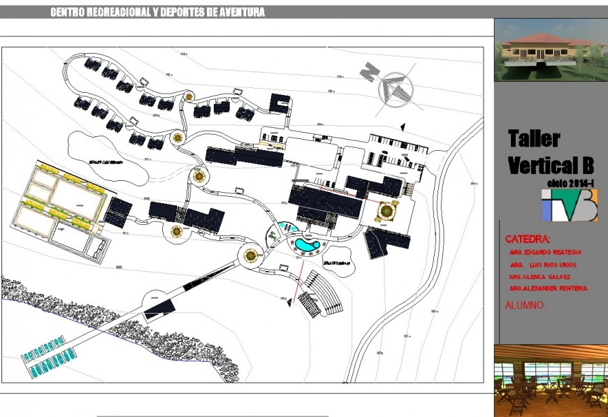 Recreational center and adventure sports plan autocad file