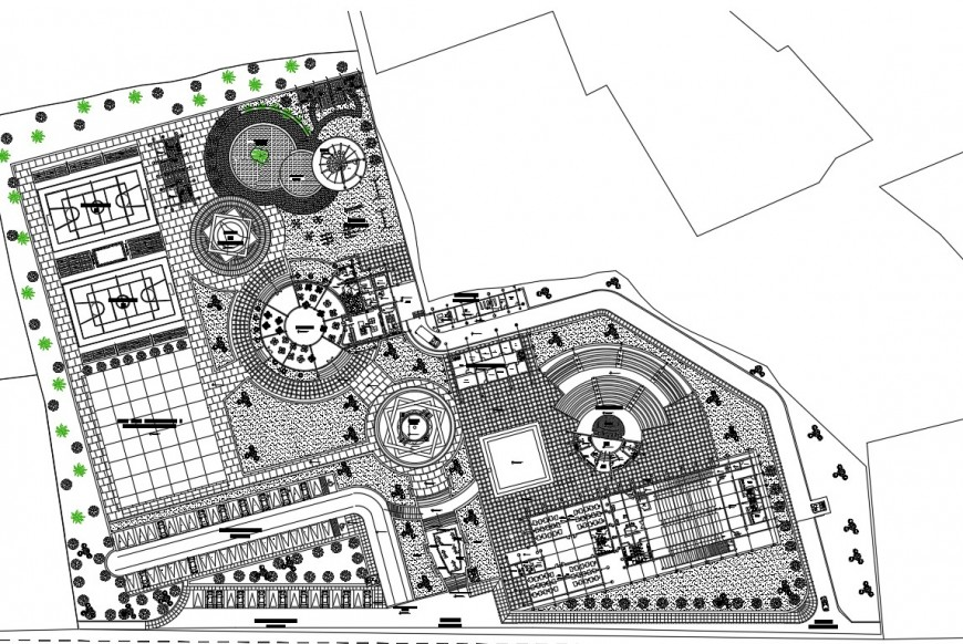 Recreational cultural center building plan dwg file