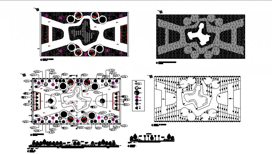 Recreational garden landscaping design and structure details dwg file