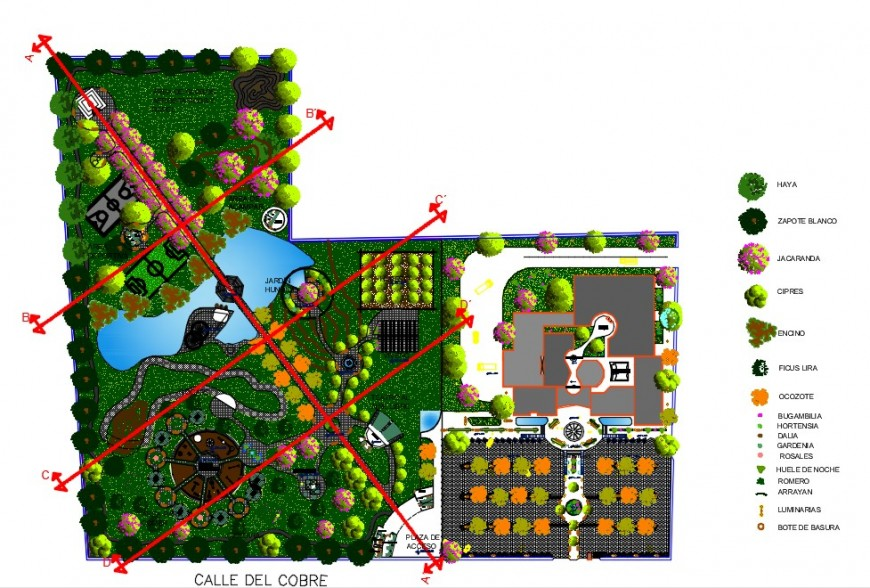 Recreative Park landscaping detail dwg file in Autocad format