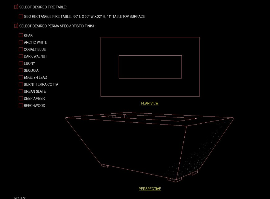 Rectangle shape planter drawing in dwg file