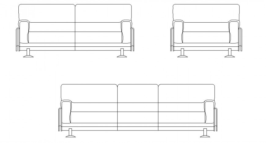 Rectangle shape sofa elevation detail