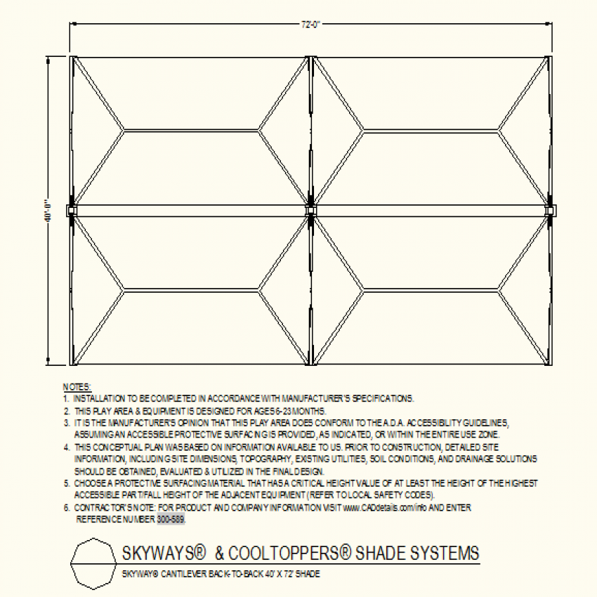 Rectangular shape back to back shade layout file
