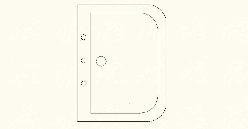Rectangular shaped sink detail elevation and plan autocad file