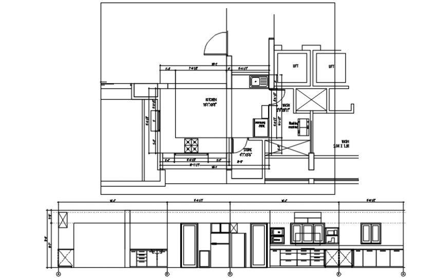 Reference kitchen main section and layout plan cad drawing details dwg file