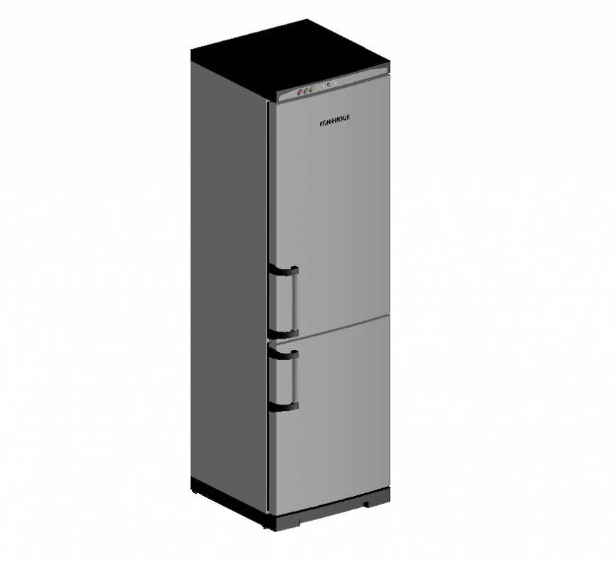 Refrigerator detail elevation 3d model autocad file
