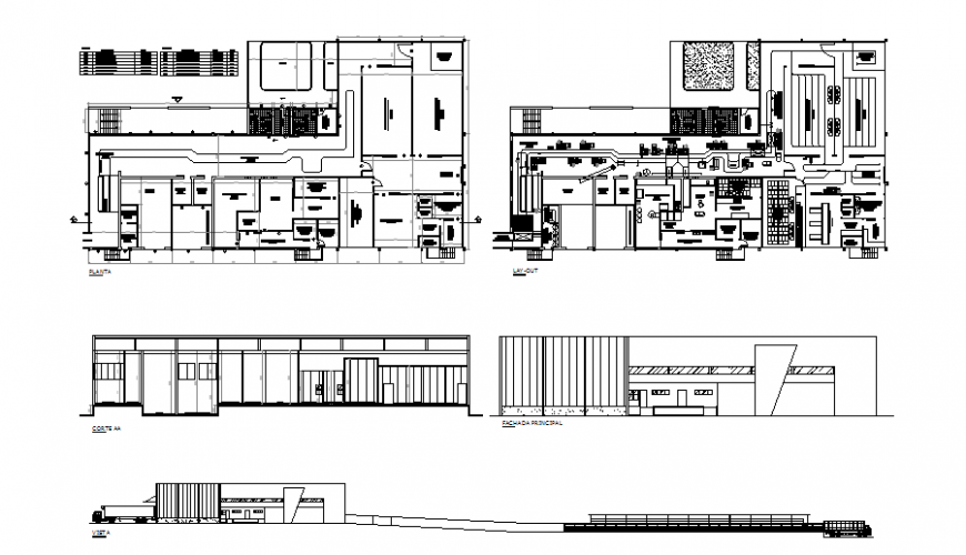 Refrigerator slaughterhouse industrial plant elevation, section, plan and layout plan details dwg file