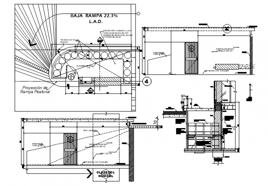 Refuser room constructive section, plan and structure details for commercial building dwg file