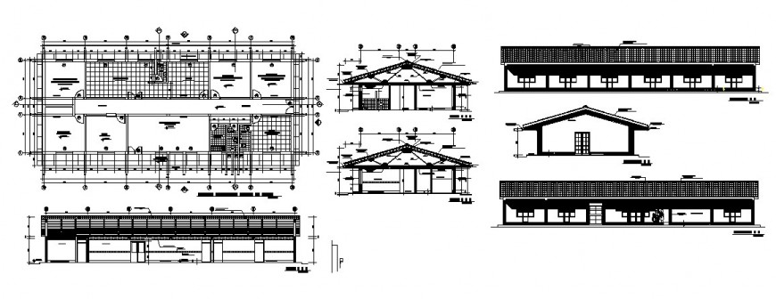 Regional health post building elevation, section, plan and auto-cad drawing details dwg file