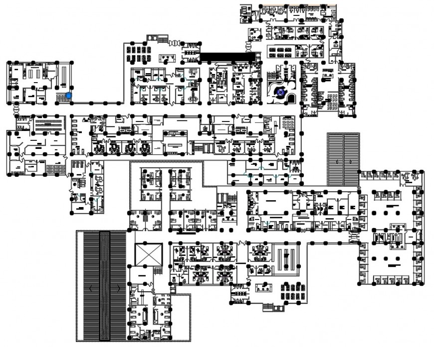 Regional hospital first floor plan cad drawing details dwg file