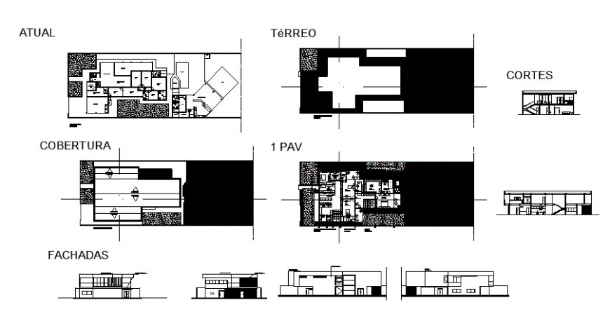 Regional hotel building elevation, section, floor plan and auto-cad details dwg file