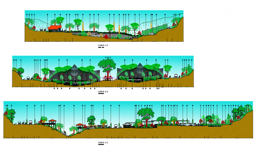 Regional zoo park all sided section and landscaping details dwg file
