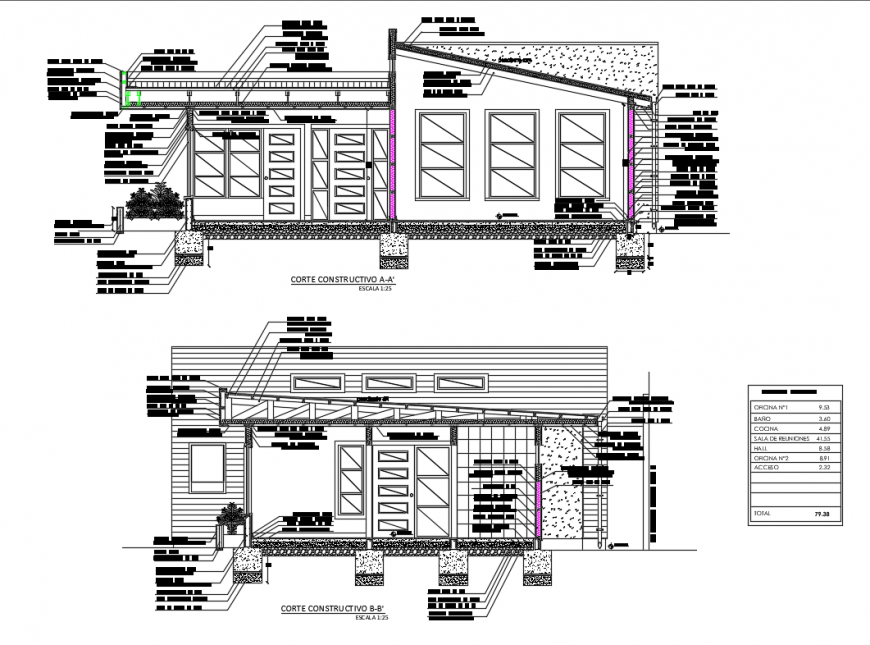 Register office facade and back constructive sectional details dwg file
