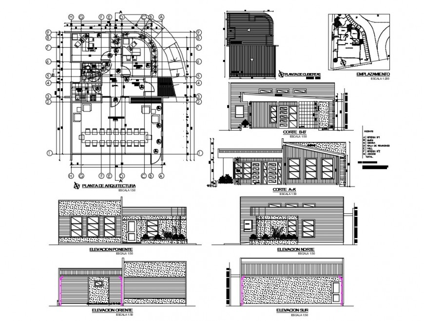 Registered office all sided elevation, section, plan and auto-cad details dwg file
