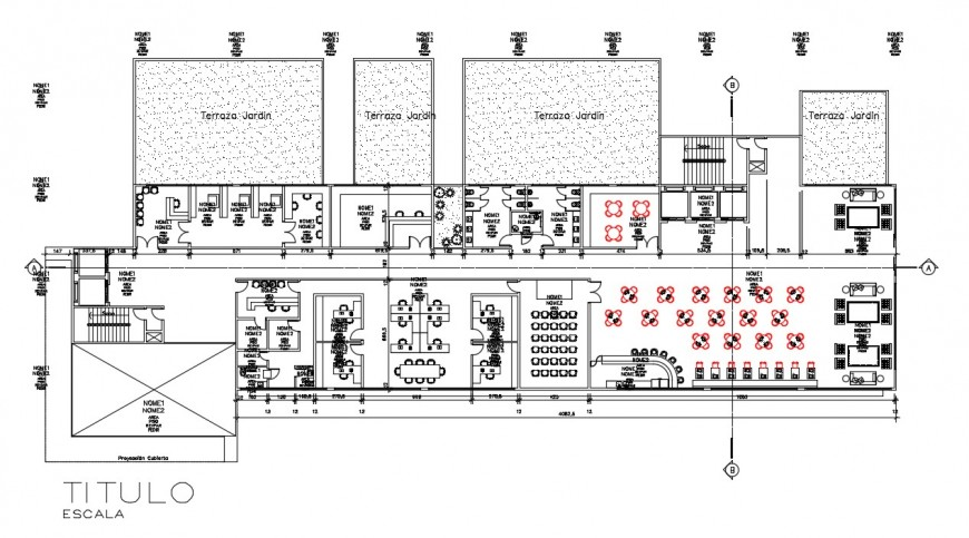 Rehabilitation center building 2d view CAD drawings dwg file