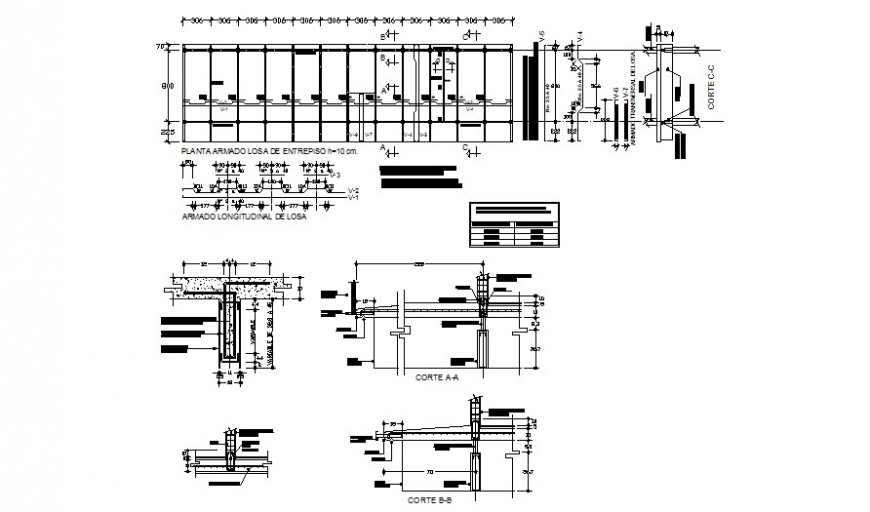 Reinforced floor slab of mezzanine plan and section layout file