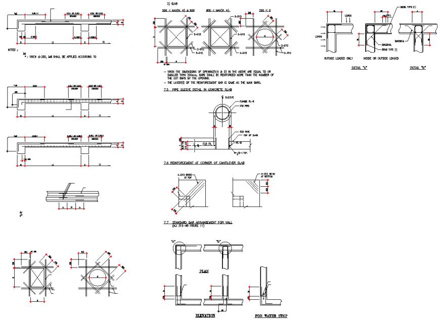 Reinforcement at corner of cantilever slab section detail dwg file