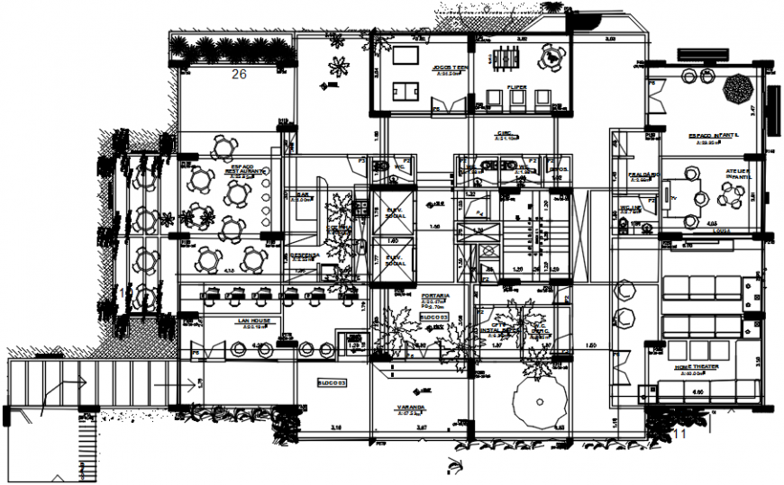 Religious chapel distribution plan cad drawing details  dwg file