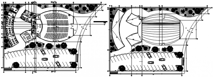 Religious church and hall floor distribution plan drawing details dwg file