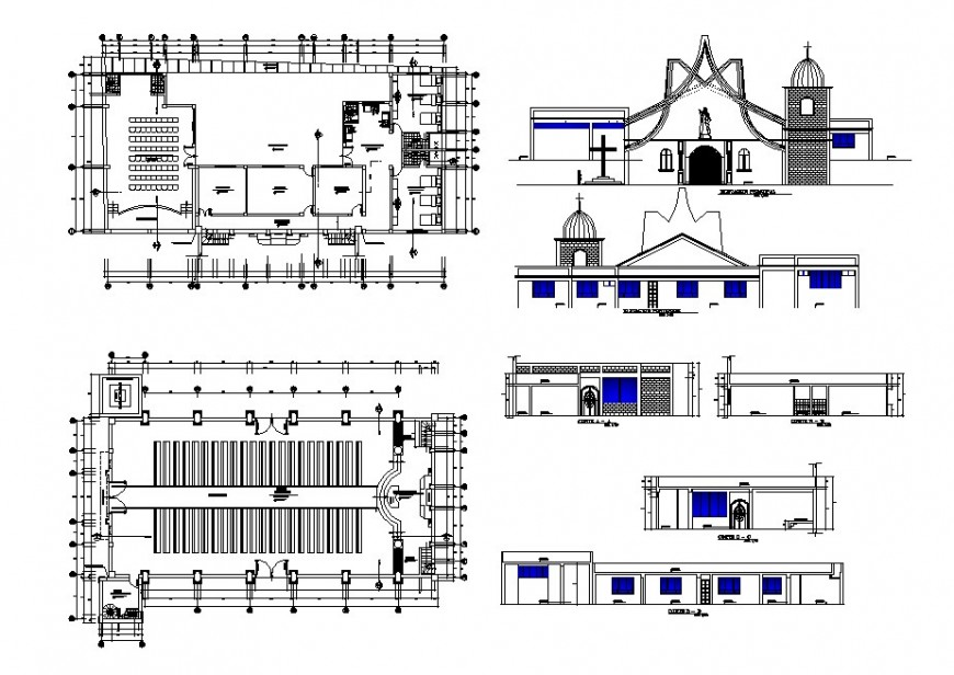 Religious church building elevation, section and plan cad drawing details dwg file