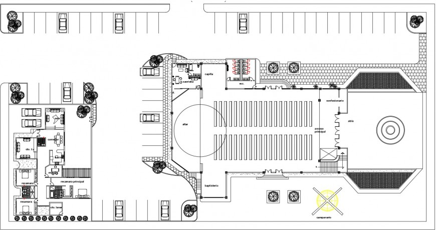Religious church distribution plan and landscaping details dwg file