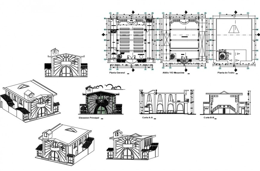 Religious church isometric elevation, section and floor plan details dwg file