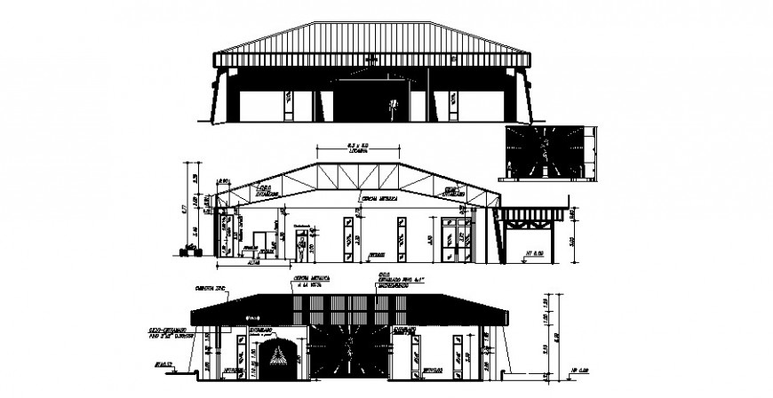 Religious church main and back elevation and main section details dwg file