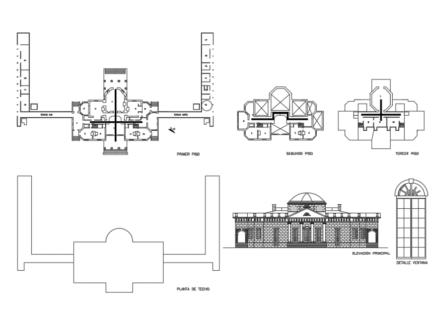 Religious church main elevation, floor plan and auto-cad details dwg file