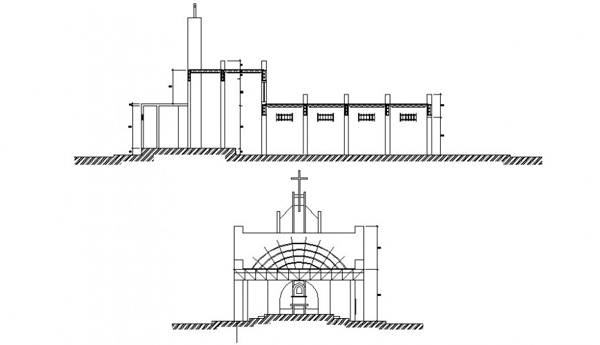 Religious church main front and side elevation drawing details dwg file