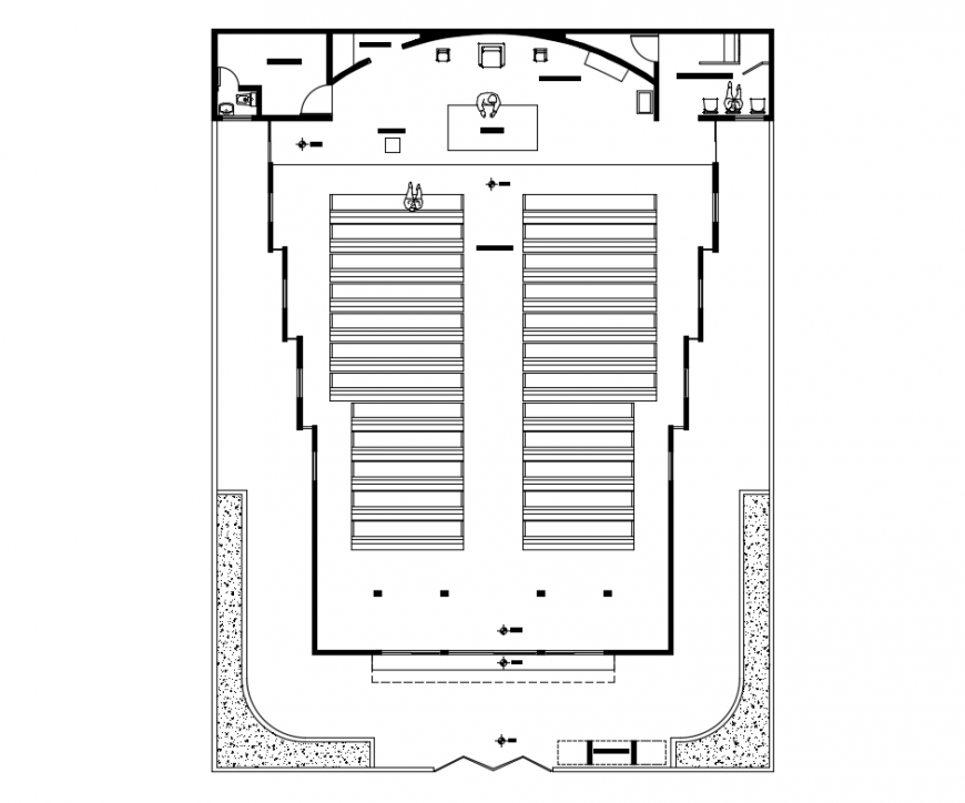 Religious church top view plan cad drawing details dwg file