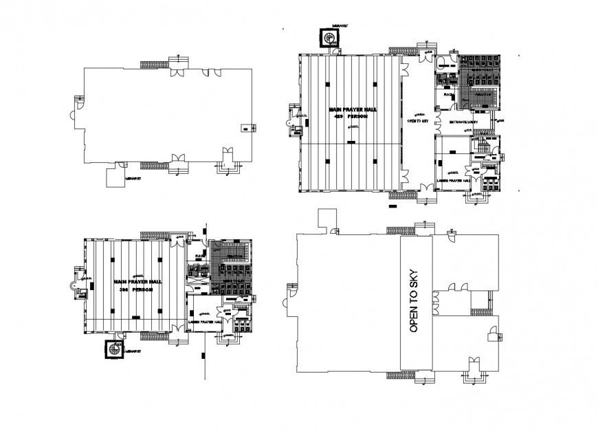 Religious mosque floor distribution plan cad drawing details dwg file