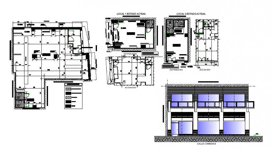 Remodeling two story store elevation, layout plan and floor plan details dwg file