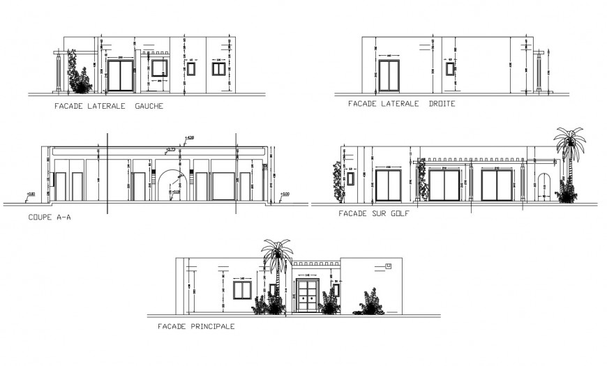 Resdiential house detail elevation and section 2d view autocad file