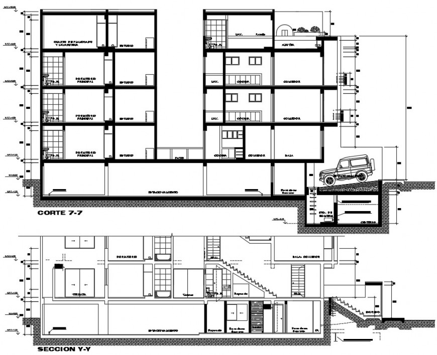 residence apartment section plan cad file