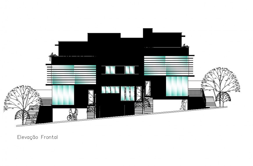Residence area elevation in auto cad file