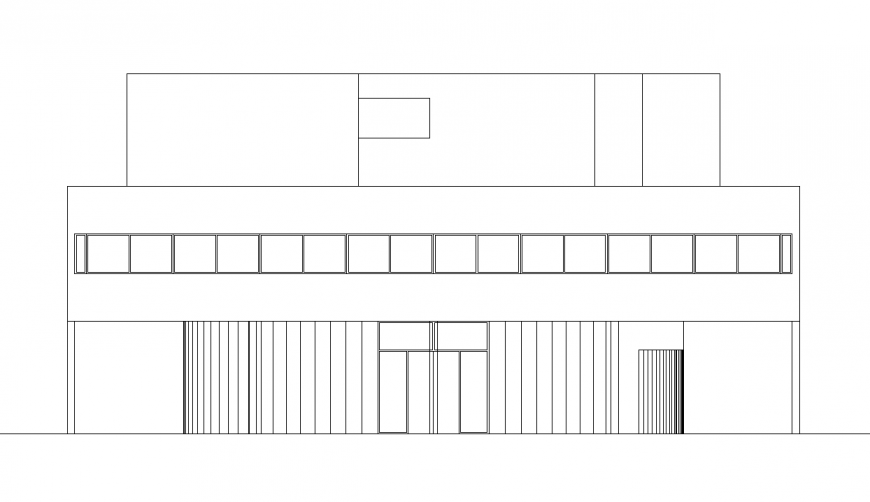 Residence area side view in design with architecture view dwg file