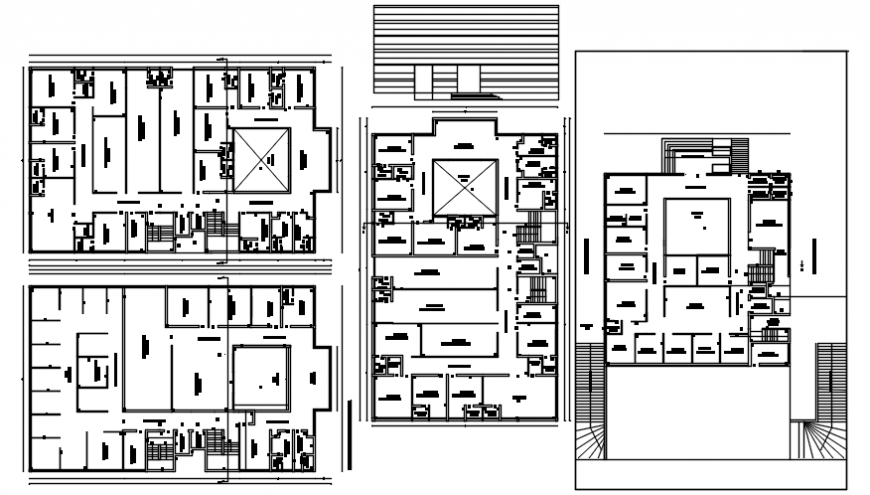 Residence building with hospital floor distribution plan cad drawing details dwg file