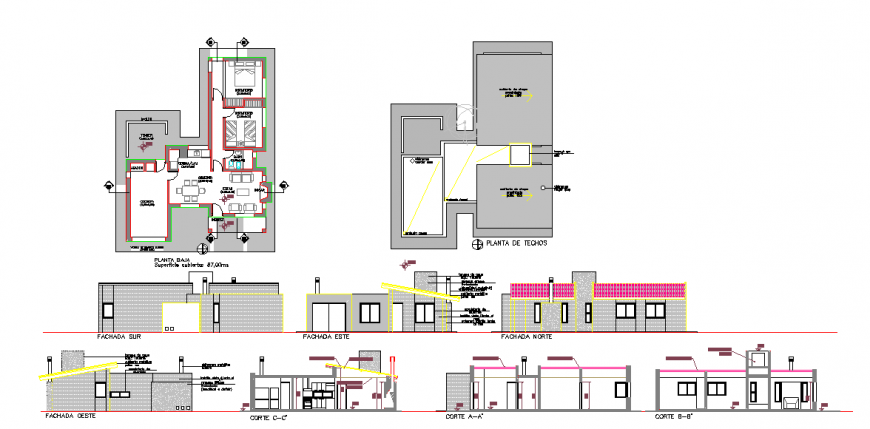 Residence cottage plan & Other detail