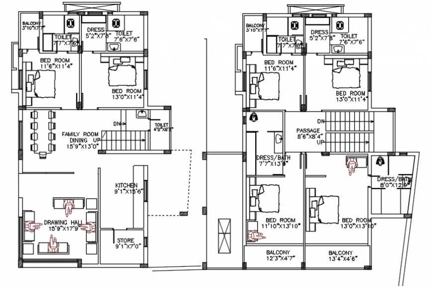 Residence floor plans cad file