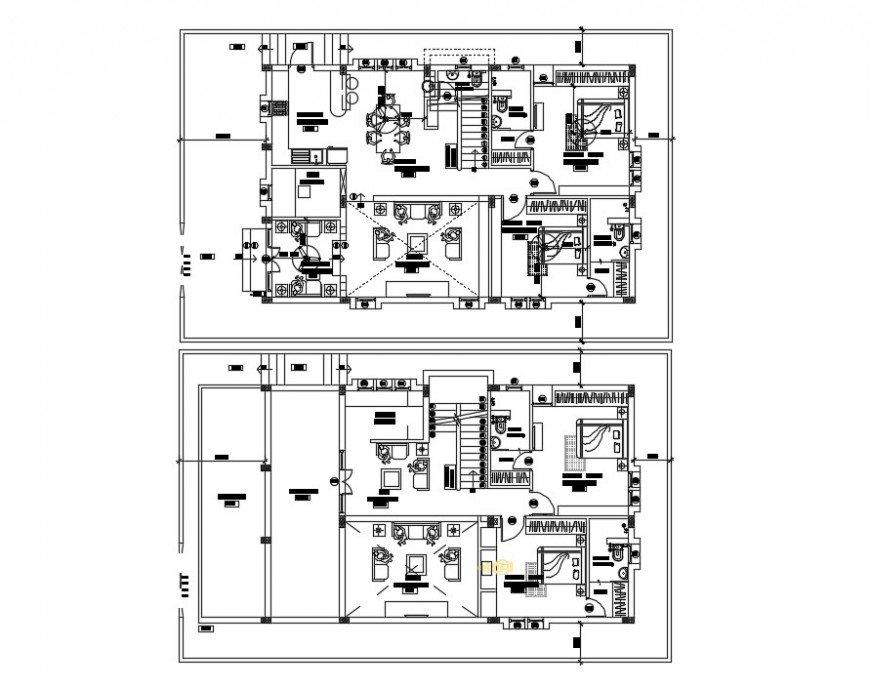 residence ground floor and first floor detail cad file