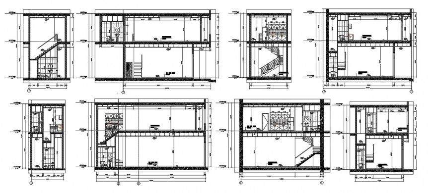 Residence house sanitary installation section plan