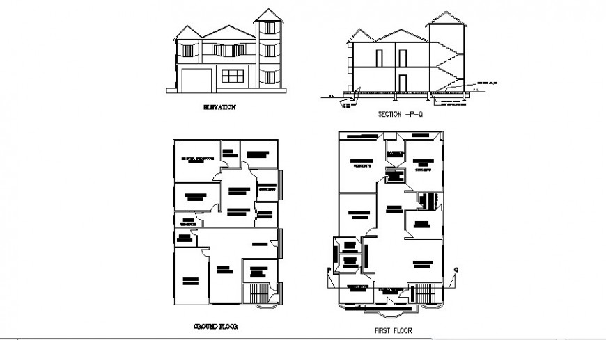 Residence house two-story elevation, section and floor plan cad drawing details dwg file