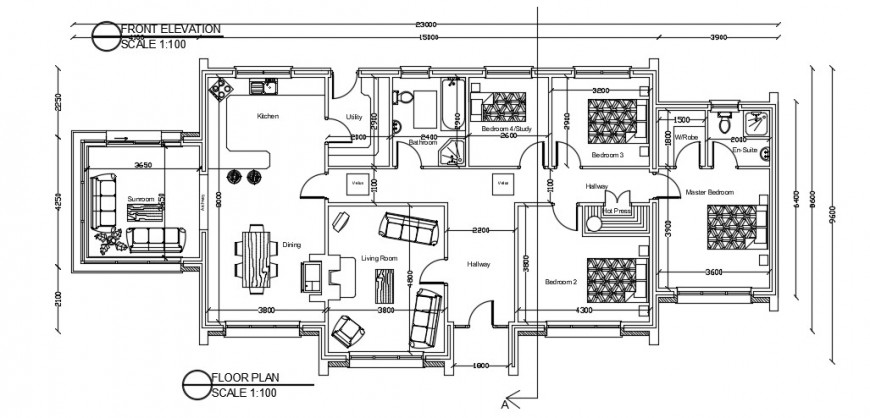 Residence layout plan  with furniture detail autocad file
