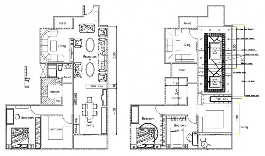 residence layout plan with ceiling design cad file