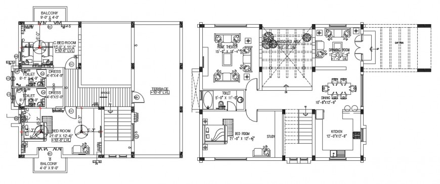 Residence project layout plan of ground floor an first floor detail