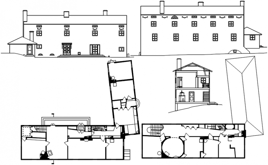 Residence villa elevation, section and plan cad drawing details dwg file